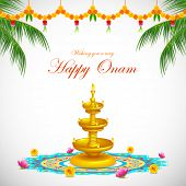 illustration of Happy Onam decoration with diya and rangoli