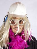 foto of hermaphrodite  - Man with blonde wig and fuchsia boa - JPG