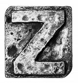 Metal alloy alphabet letter Z
