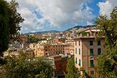 stock photo of negro  - Summer view of Genoa city from the hill of park Villetta Di Negro - JPG