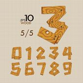 5-5 Set Of Wood Vector Numbers 0-9 Editable