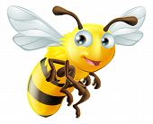 image of beehives  - An illustration of a cute cartoon bee - JPG