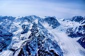 Aerial View of the Headwaters of a Beautiful Glacier in the Great Alaskan Wilderness, Denali Park.
