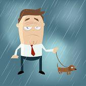 funny cartoon man with dog on a rainy day