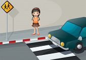 Illustration of a girl near the pedestrian lane with a car
