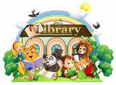 stock photo of storybook  - Illustration of the animals reading in front of the library on a white background - JPG