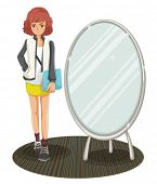 stock photo of beside  - Illustration of a schoolgirl standing beside the mirror on a white background - JPG