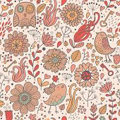 Vintage floral background with owl, flowers, keys, hearts and leafs. Seamless pattern can be used fo