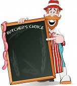 Happy Butcher pointing at his Big Sign