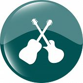 Guitar Icon Isolated, Web Button