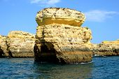 stock photo of vilamoura  - Cliffs yellow Albufeira in the Algarve Portugal - JPG