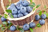 blueberry in wicker basket