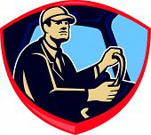 stock photo of bus driver  - Illustration of a bus or truck driver driver inside vehicle viewed from side set inside shield crest done in retro style - JPG