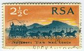 RSA - CIRCA 1986: A stamp printed in RSA shows image of  the mail coach or post coach was a horse-dr