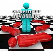 One person stands as the winner with words Competitive Advantage to illustrate superior qualities and characteristics