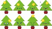 image of chibi  - Set of 8 super cute Kawaii style Christmas Trees with different expressions - JPG
