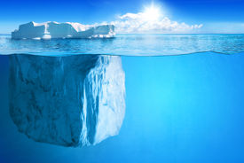 image of iceberg  - Underwater view of big iceberg with beautiful polar sea on background  - JPG