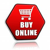 Buy Online And Shopping Cart Sign On Red Hexagon Banner