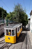 Lisbon, Portugal - May 26, 2013: Elevador da Gloria, the famous funicular connecting the Restaurador