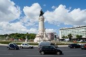 Lisbon, Portugal - May 12, 2013: Marques do Pombal Roundabout. This roundabout rates the highest num