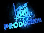 Production Concept on Dark Digital Background.