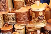 KRASNODAR, RUSSIA - SEPTEMBER 28 - Bark jars for seasoning at the fair, Krasnodar city day on 28, Se