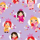 Seamless kids little fairy tale princess violet illustration background pattern in vector