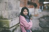 stock photo of hobo  - poor young woman on the street - JPG