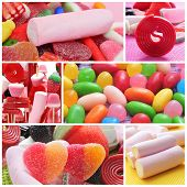 a collage of different kinds of candies