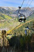 Colourful Mountains And Vew Of Telluride And Tram In Colorado During Foliage Season