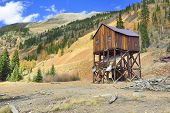 Old Abandoned Mine In Colourful Mountains Of Colorado During Foliage Season