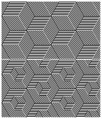 Set of Two B&W Seamless Patterns. Cubic Elements. Rasterized Version