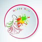 Indian festival Happy Holi celebrations sticker, tag or label with illustration of a young lady in traditional outfits on colours splash background.