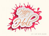 Indian colour festival Happy Holi celebrations concept with stylish text, can be use as sticker, tag or label on pink colour splash background.