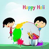 Indian festival Happy Holi celebration concept with cute kids playing colours on colours splash background.