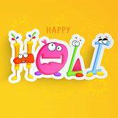 Stylish colourful kiddish text Happy Holi on yellow background.