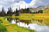 Medicine Bow Mountains And Lake With Reflection In Wyoming