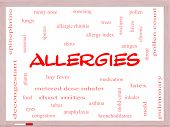 stock photo of anaphylaxis  - Allergies Word Cloud Concept on a Whiteboard with great terms such as food pollen mold and more - JPG