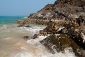stock photo of sea-scape  - Sea scape  with the stones and waves at Koh Lanta island - JPG