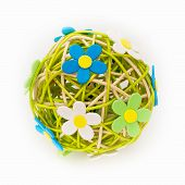 Beautiful Sphere Made Of Bound Wicker With Florets