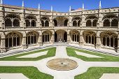 Manueline cloister of Jeronimos monastery in Lisbon, Portugal. Classified as UNESCO World Heritage i