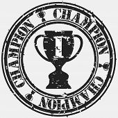 Grunge champion rubber stamp, vector illustration