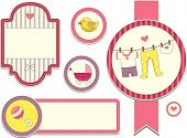 Illustration Featuring Different Items Commonly Used by Baby Girls