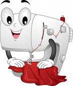 pic of sewing  - Mascot Illustration Featuring a Sewing Machine Sewing a Piece of Cloth - JPG