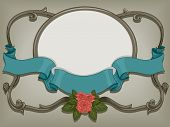 Illustration of a Ready to Print Label Framed by Vines and Ribbons with a Vintage Effect