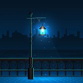 pic of lamp post  - easy to edit vector illustration of lamp post in night city view - JPG