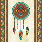 image of shaman  - Ethnic background with dreamcatcher in navajo design - JPG