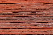 Old Red Log Wall.