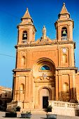 stock photo of olden days  - Our Lady of Pompej church at Marsaxlokk in Malta daytime summer 