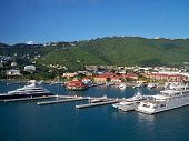 Boats docked in port St. Thomas, USVI
